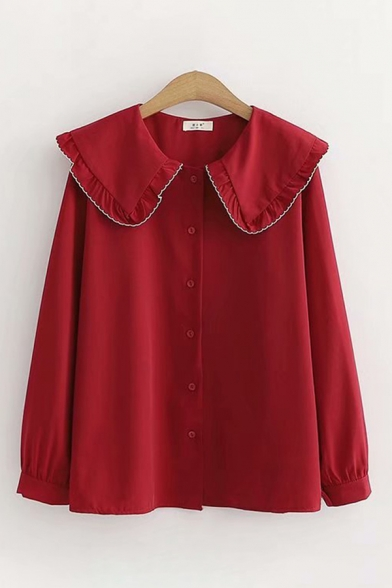 Cute Female Long Sleeve Peter Pan Collar Button Down Contrast Piped Relaxed Shirt