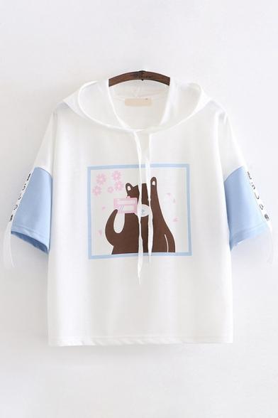 Cute Kawaii Girls Short Sleeve Drawstring Japanese Letter Bear Print Relaxed Graphic Hoodie
