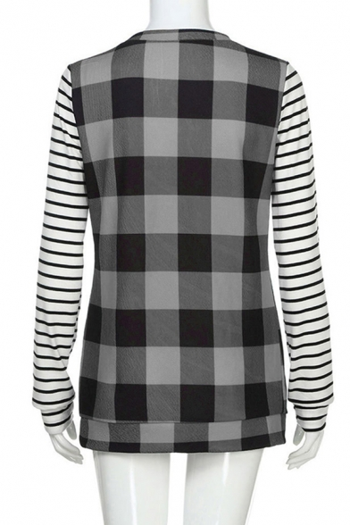 Fashion Girls Long Sleeve Round Neck Stripe Checkered Patchwork Loose Fit T Shirt