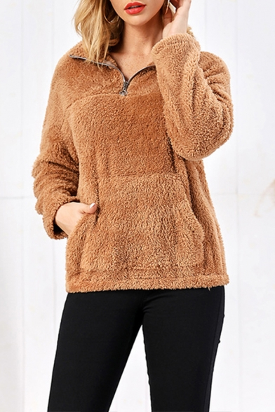 Fashionable Women's Long Sleeve Stand Collar Pouch Pocket Sherpa Fleece Relaxed Pullover Sweatshirt in Khaki