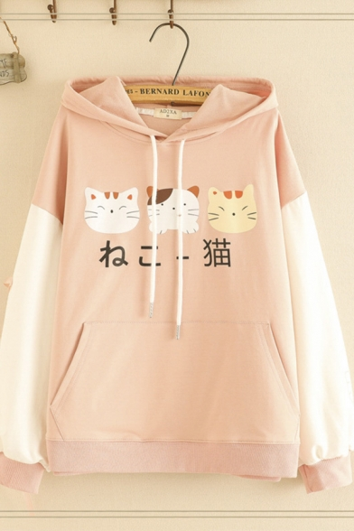 Lovely Girls' Long Sleeve Drawstring Japanese Letter Cat Printed Pouch Pocket Lace Up Colorblock Relaxed Fit Cat Ear Hoodie, Pink;white;navy, LM596719