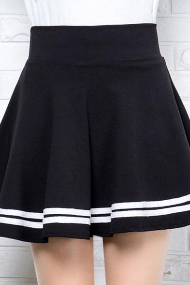 Preppy Girls High Rise Stripe Print Mini Pleated A-Line Skirt