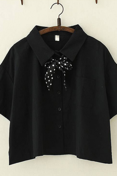 Simple Solid Color Short Sleeve Lapel Collar Button Up Polka Dot Bow Tie Loose Crop Shirt for Ladies
