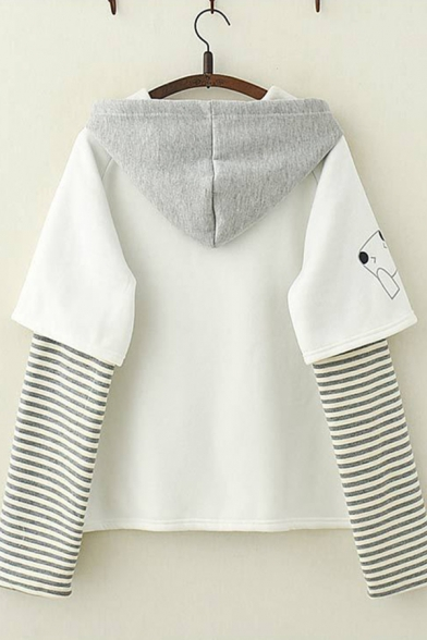 Fashionable Girls Long Sleeve Letter BABY Stripe Print Patchwork Drawstring Relaxed Hoodie in White