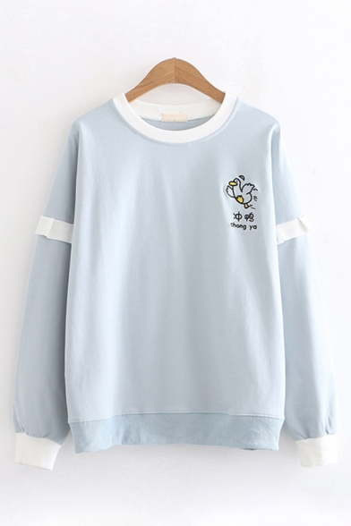 Fashionable Womens Long Sleeve Round Neck Chinese Letter Duck Embroidery Ruffled Trim Contrasted Loose Pullover Sweatshirt