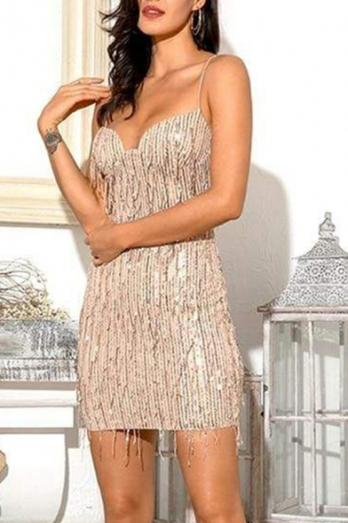 Sparkle Amazing Ladies Sleeveless Sequinned Tassel Decoration Plain Mini Shift Cami Dressing Gown