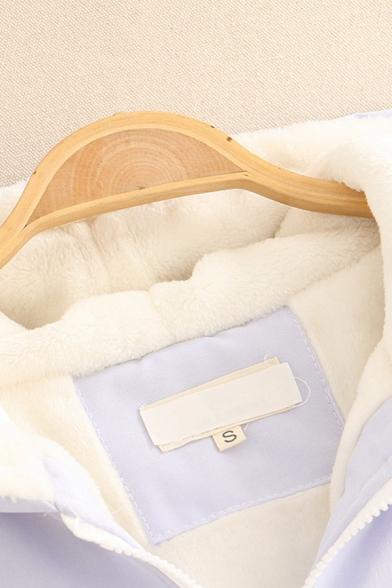 Trendy Girls' Long Sleeve Hooded Zipper Front Colorblocked Bear Printed Sherpa Liner Flap Pocket Jacket