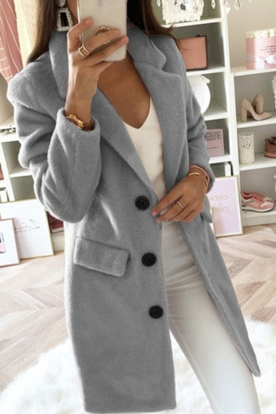Winter Fashion Long Sleeve Notched Collar Button Front Long Plain Relaxed Wool Coat for Women
