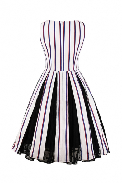 Amazing Women's Sleeveless Square Neck Stripe Printed Long Pleated Swing Dress in White