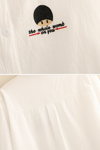 Basic White Long Sleeve Lapel Collar Button Down Letter Cartoon Heart Embroidery Loose Shirt for Ladies