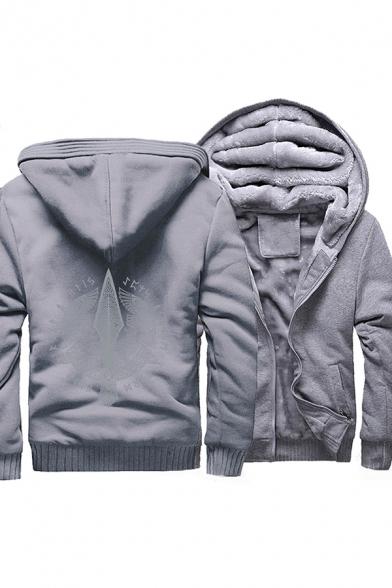 Casual Boys Long Sleeve Zipper Front Floral Pattern Sherpa Liner Color Block Loose Hoodie
