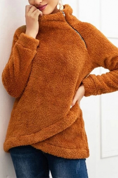 Casual Womens Long Sleeve Stand Collar Zipper Side Fuzzy Wrap Relaxed Sweatshirt in Camel