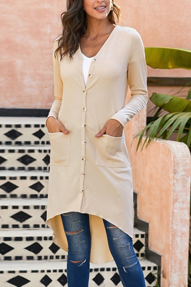 Купить со скидкой Elegant Fashion Ladies Solid Color Long Sleeve Button Down High Low Long Relaxed Cardigan