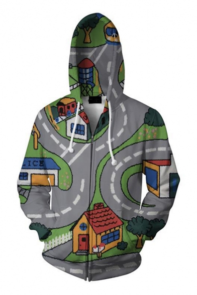 Famous Gray Game 3D Print Long Sleeve Drawstring Zip Up Relaxed Fit Hoodie for Boys