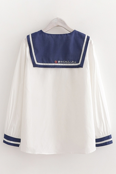 Preppy Girls Long Sleeve Sailor Collar Button Down Japanese letter Striped Relaxed Fit Shirt in White