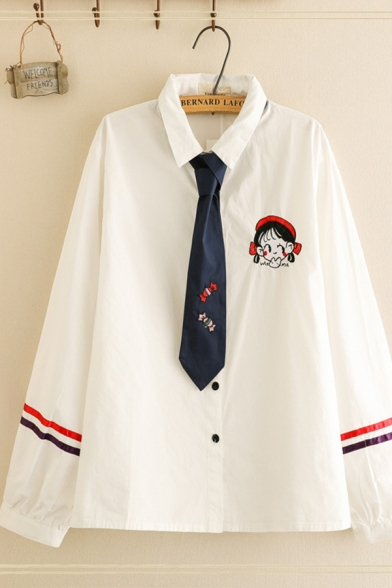 Preppy Girls' White Long Sleeve Lapel Collar Button Down Cartoon Girl Embroidery Varsity Stripe Relaxed Fit Shirt