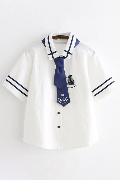 Preppy Looks Short Sleeve Lapel Collar Striped Boat Embroidery Button Down Relaxed Shirt with Tie