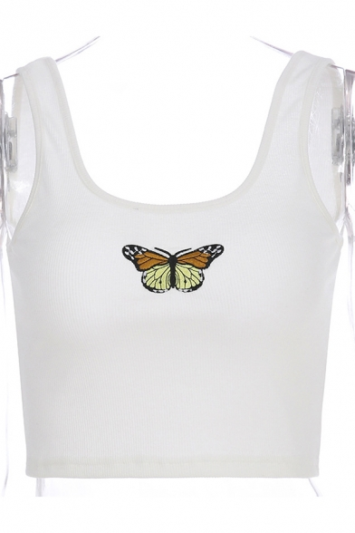 Summer Trendy Girls Sleeveless Butterfly Patterned Slim Fit Crop Tank Top in White