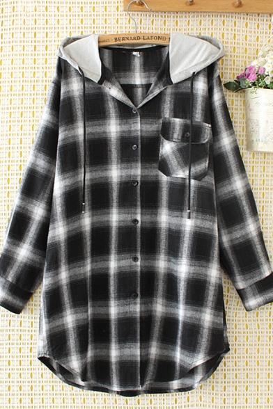 Trendy Street Long Sleeve Hooded Drawstring Flap Pocket Plaid Pattern Curved Hem Long Relaxed Shirt for Women