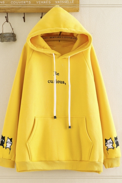 Trendy Women's Long Sleeve Drawstring Letter BE CURIOUS Cat Print Kangaroo Pocket Relaxed Hoodie, Pink;beige;yellow, LM596768