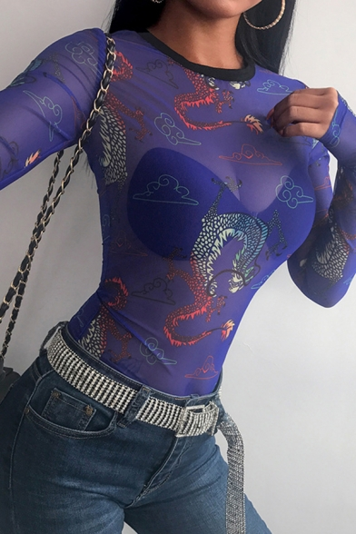 Unique Womens Long Sleeve Round Neck See Through Mesh All Over Dragon Printed Slim Fit T Shirt in Blue