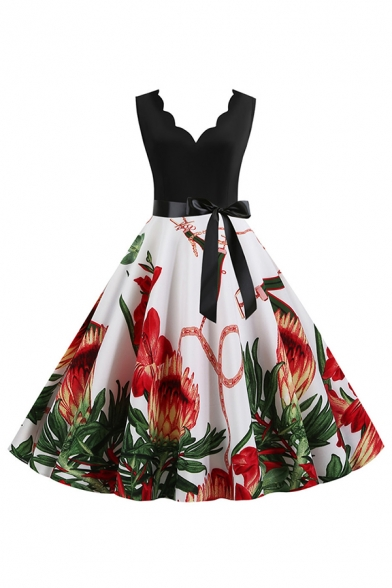 Boutique Ladies' Sleeveless V-Neck Scalloped Trim Floral Pattern Bow Tie Waist Long Pleated Flared Dress