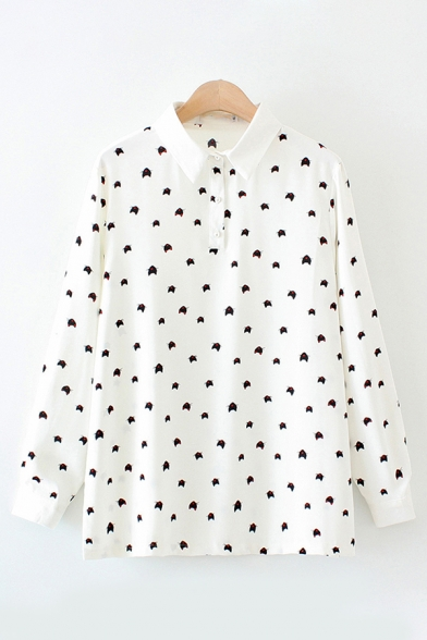 Casual Female Long Sleeve Lapel Collar Button Front All-Over Cartoon Print Loose Fit Shirt