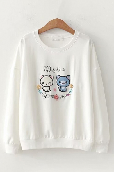 Cute Girls Long Sleeve Round Neck Cat Patterned Relaxed Fit Pullover Sweatshirt