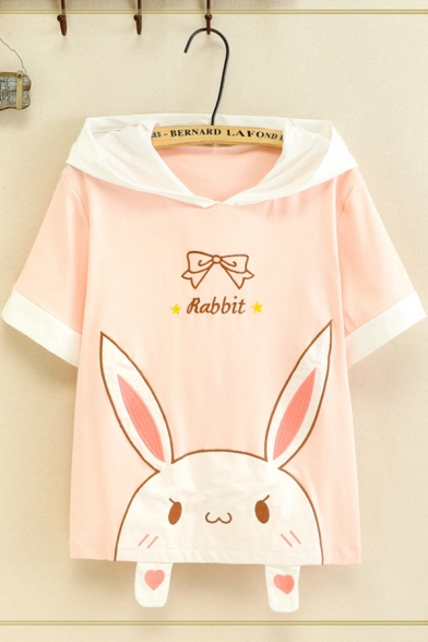 Designer Girls' Short Sleeve Letter RABBIT Bow Tie Rabbit Graphic Contrasted Relaxed Fit Rabbit Ears Hooded T Shirt in White LM596630 фото