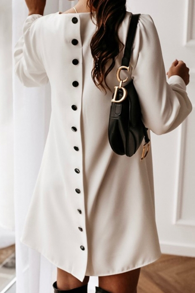 Elegant Ladies Long Sleeve Round Neck Button Back Plain Short A-Line Work Dress