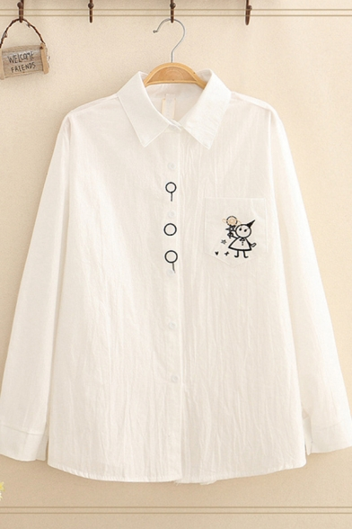 Fashion Girls' White Long Sleeve Lapel Neck Button Down Cartoon Embroidery Pocket Patched Loose Shirt