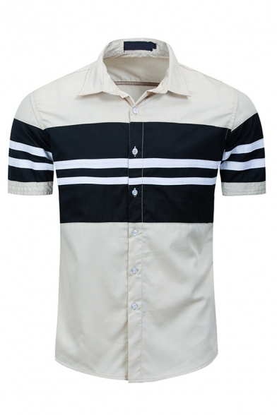 Leisure Short Sleeve Lapel Neck Button Down Stripe Printed Color Block Slim Fit Shirt in Khaki