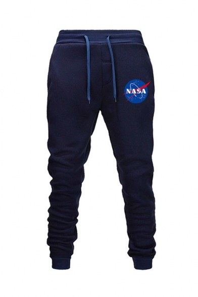 Mens Casual Drawstring Waist Letter NASA Pattern Cuffed Ankle Length Tapered Fit Sweatpants