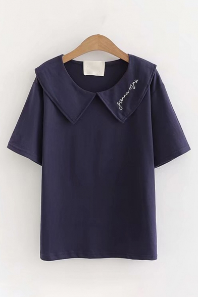 Preppy Girls Short Sleeve Peter Pan Collar Letter Embroidery Relaxed Fit T Shirt