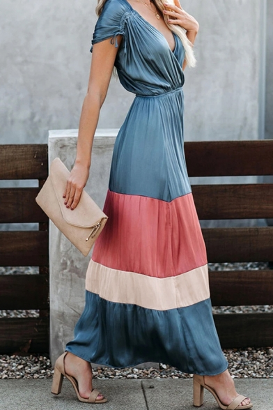 Pretty Nice Women's Short Sleeve Surplice Neck Colorblocked Striped Drawstring Ruched Maxi Flowy Dress