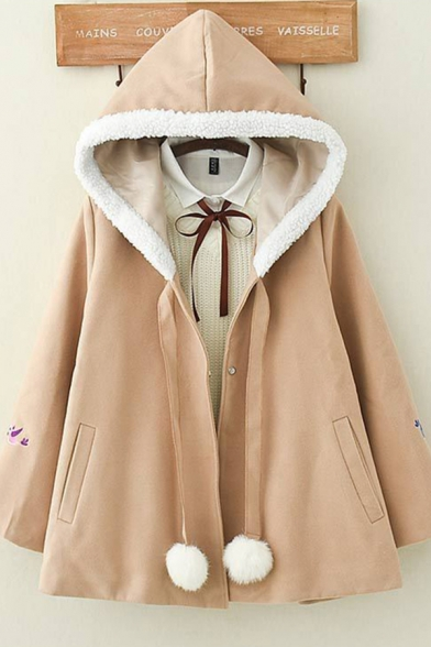 Pretty Womens Long Sleeve Zipper Front Pom Pom Drawstring Bird Floral Embroidery Sherpa Trim Loose Fit Wool Coat