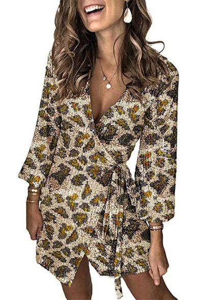 Sexy Fancy Ladies Long Sleeve Surplice Neck Tied Waist Leopard Printed Sequined Mini Wrap Dress
