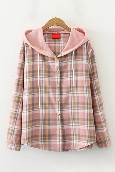 Stylish Women's Long Sleeve Button Down Checkered Drawstring Loose Hooded Shirt
