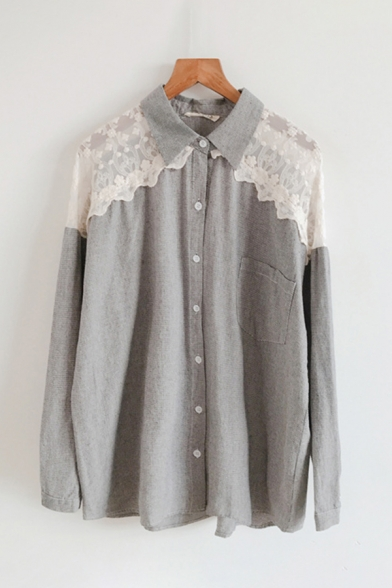 Trendy Ladies Long Sleeve Lapel Neck Lace Patched Button Down Relaxed Fit Shirt