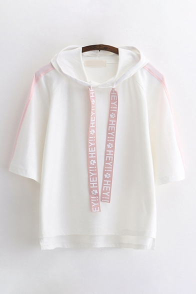 Active Cool Girls Three-Quarter Sleeve Letter HEY Paw Graphic Drawstring Contrasted Relaxed Fit Hoodie