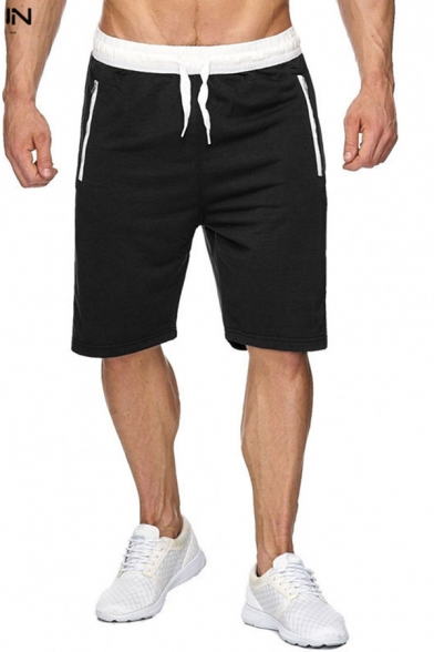 Casual Mens Drawstring Waist Contrast Piped Relaxed Shorts