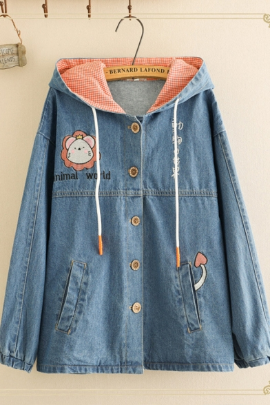 Casual Women's Long Sleeve Button Down Lion Letter ANIMAL WORLD Embroidery Plaid Liner Relaxed Fit Denim Jacket
