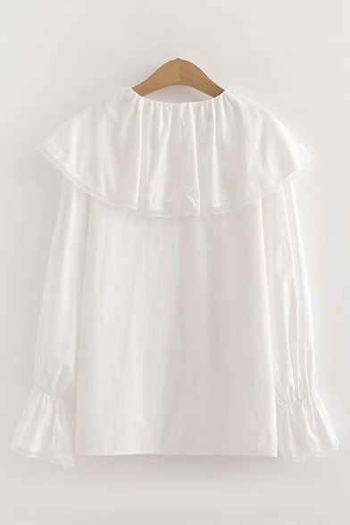 Cute Girls' Long Sleeve Peter Pan Collar Button Down Relaxed Fit Shirt in White