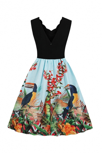Cute Girls' Sleeve V-Neck Scallop Trim Parrot Printed Panel Long Pleated Swing Dress in Black