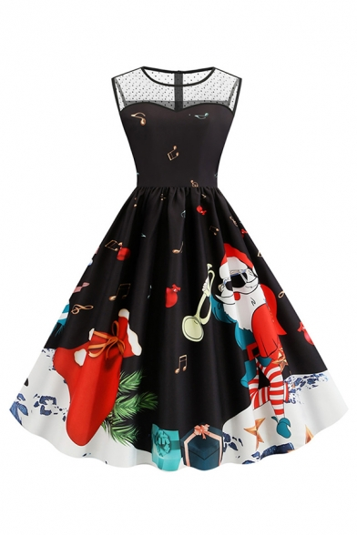 Designer Sleeveless Crew Neck Sheer Mesh Patched Santa Claus Elk Printed Maxi Pleated Flared Dress for Women