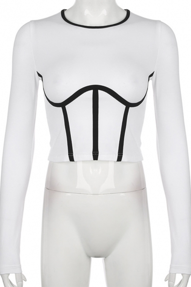 Edgy Girls Long Sleeve Round Neck Contrast Piped Slim Fitted T Shirt in White