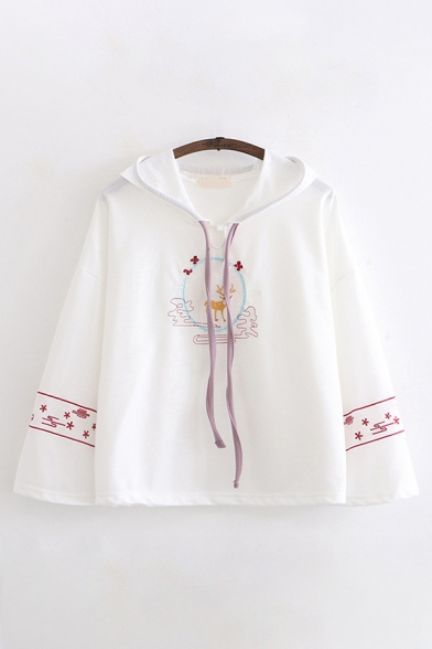 Fancy Chic Long Sleeve Drawstring Deer Floral Embroidery Loose Fit Hoodie for Girls