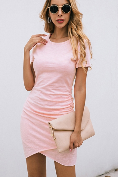 Leisure Classic Womens Short Sleeve Round Neck Solid Color Ruched Mini Tight Tulip T Shirt Dress