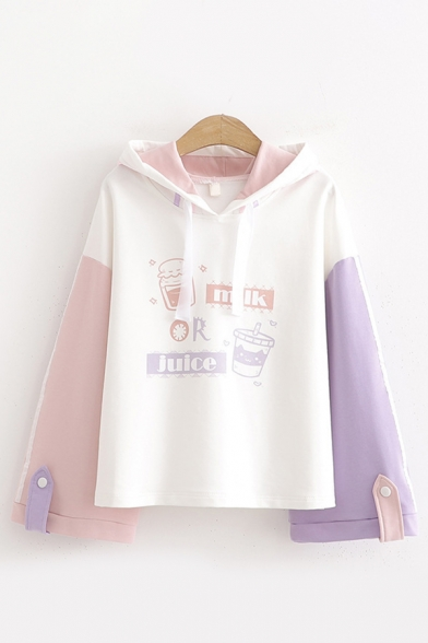 Preppy Looks Long Sleeve Drawstring DRINK OR JUICE Letter Graphic Colorblock Relaxed Hoodie in White