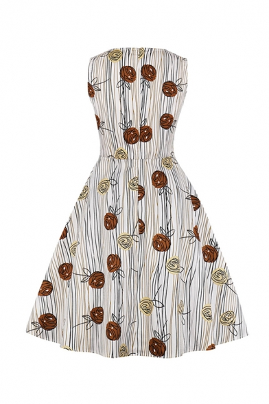 Pretty Girls Sleeveless Round Neck All Over Floral Printed Striped Long Pleated Swing Dress in White